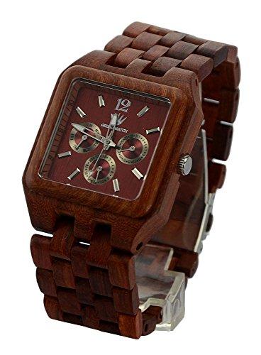 ideashop Herren s roetlich eckig multi eyed Holz Quarz Armbanduhr Armbanduhr mit Auto Datum Kalender Geschenk Armbanduhr