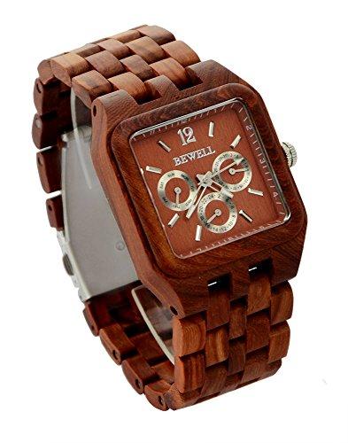 ideashop multi eyed quadratisch roetlich Holz Quarz Armbanduhr Armbanduhr mit Datum Kalender Geschenk Uhr fuer Herren