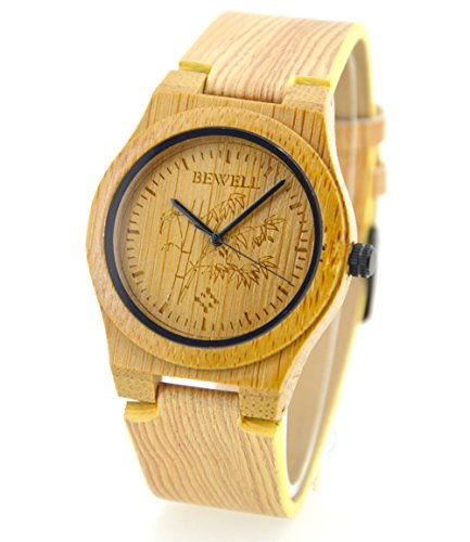 ideashop natuerlichen Holz Bambus Armbanduhr bamboo like echtem Leder Armband Quarz Analog Unisex Armbanduhr