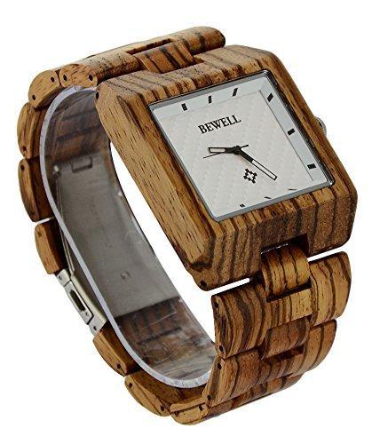 ideashop New Arrival quadratisch verstellbar natur Zebra Armbanduhr Movt Herren Zebrano Fashion Armbanduhr Geschenk