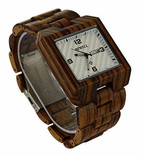 ideashop quadratisch verstellbar natur Zebra Armbanduhr Movt Herren Zebrano Uhren mit Auto Datum Kalender Funktion Fashion Armbanduhr Geschenk