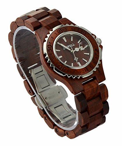 ideashop Fashion Damen Rot Sandelholz und Stahl Armbanduhren Liebhaber Uhren mit Datum Kalender