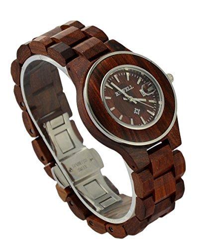 ideashop Fashion Rot Holz Stahl Silber Sandelholz Uhren Japan Bewegung Quarz Holz Lovers Uhr mit Datum Kalender Einzigartiges Geschenk fuer Frauen