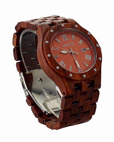 ideashop Big Fall Rot Sandelholz Uhren Luxus Bewegung Quarz Holz Uhr mit Datum Kalender Einzigartiges Geschenk