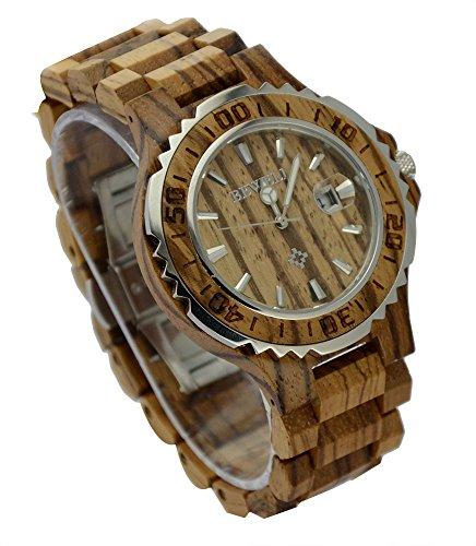 ideashop Luxus Herren Holz Stahl weiss silber Sandelholz Uhren mit Datum Kalender fuer Liebhaber Geschenk Zebra Holz Uhren
