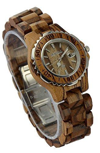 ideashop Damen Holz Silber Sandelholz Uhren Luxus mit Datum Kalender fuer Liebhaber Zebra Holz Uhren