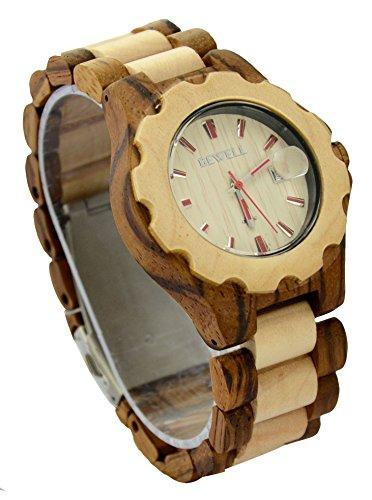 ideashop Fashion Holz verstellbar Armbanduhren Datum Holz Armbanduhr verstellbar Holz Band Armbanduhr Geschenk Zebra und Ahornholz