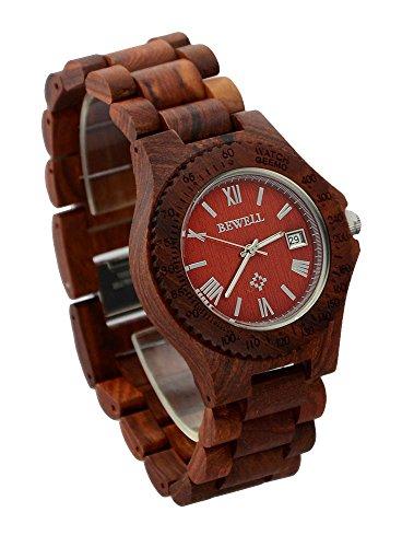 ideashop Herren Rot Quarz verstellbar Holz Uhren mit Datum Kalender Funktion Geschenk Armbanduhr