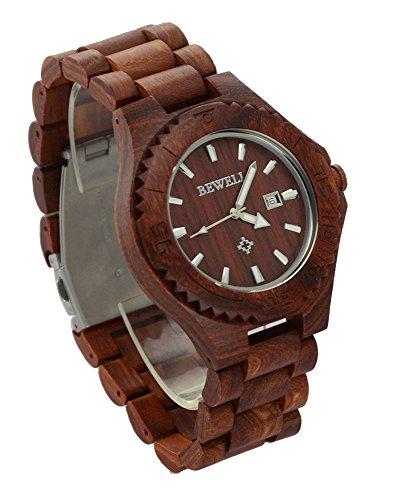 ideashop rot verstellbar Quarz Uhren aus Holz mit Datum Kalender Geschenk Uhr fuer Herren