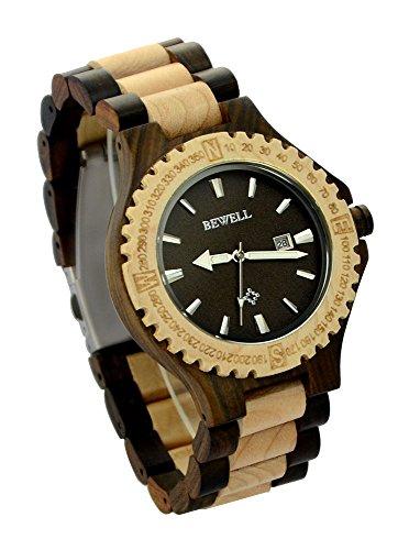 ideashop verstellbar Quarz Holz Uhren mit Kalender Display phosphoreszierende Zeiger Herren Casual Business Uhren Geschenk
