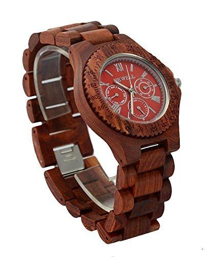 ideashop Herren Rot 6 Haende aus Holz Uhren verstellbar multi eyed Datum Woche 24 Stunden Holz Uhren Geschenk Armbanduhr