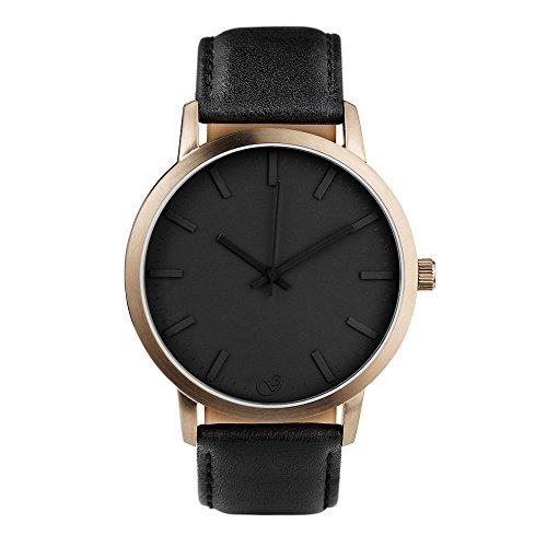 Gaxs Watches James V bronze mit Lederarmband schwarz