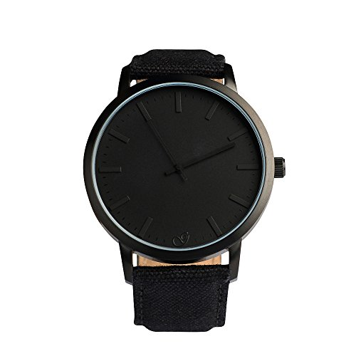 Gaxs Watches Jamming Joe Canvas Herren Armbanduhr all black mit Canvas Stoff Armband