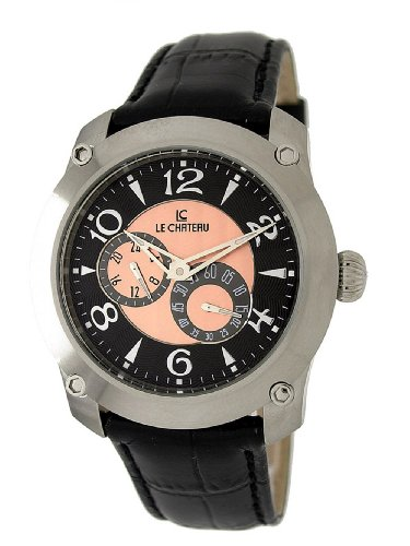 Le Chateau Herren 5424MAUTO BLKandROSE Cautiva Sammlung See Thru Automatic All Steel Uhr