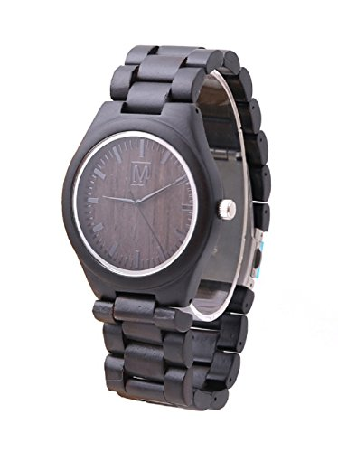 mercimall Mans Eco Friendly Holz Uhren mit Sandelholz Harz Armband Schwarz