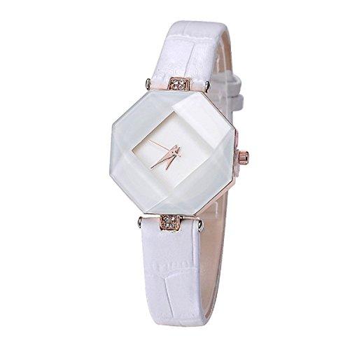mercimall gehaertetem Damen Kleid Uhr mit einzigartige dreidimensionale Design Weiss