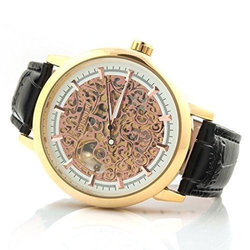 IDENTIM Skelettuhr Edelstahluhr Luxusuhr Skeleton Armbanduhr Gold Rose ID13972