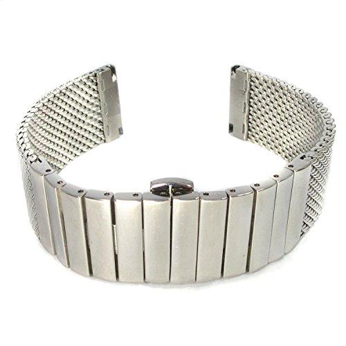 MapofBeauty Modisch und Stilvoll Gitter edelstahl Stahl Armbanduhr handgelenk Armbanduhr Bande Uhrenarmband Silber Uhrenschlieen 24mm