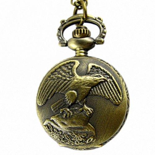 MapofBeauty Bronze Adler Muster Fall Quarz Taschenuhr