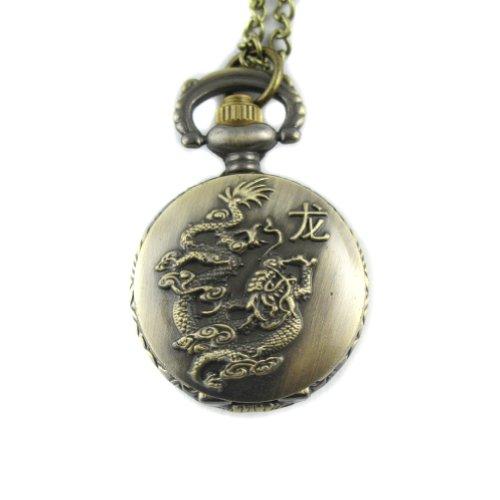 MapofBeauty Bronze chinesischen Tierkreis Drache Muster Fall Quarz Taschenuhr