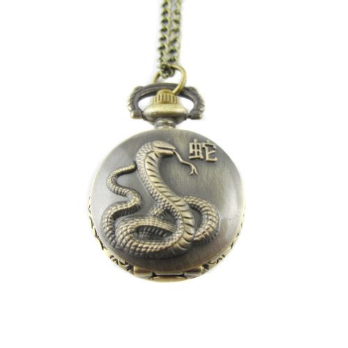 MapofBeauty Bronze Chinesisches Sternzeichen Schlange Muster Kasten Quarz Taschen Uhr