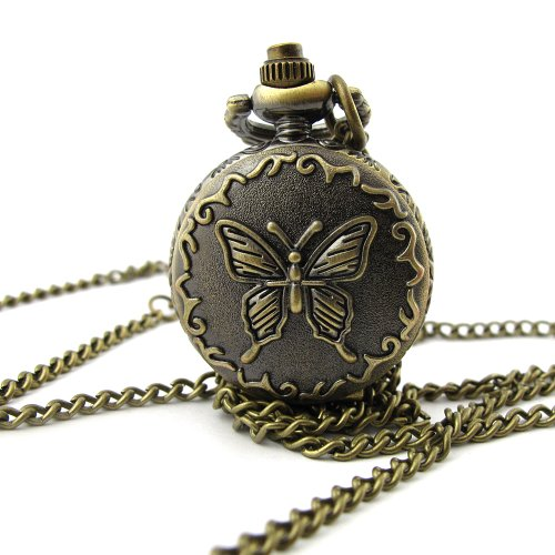 MapofBeauty Bronzeschmetterlings Muster Fall Quarz Taschenuhr