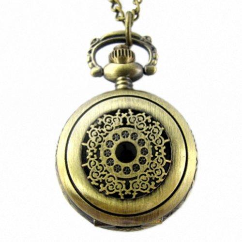 MapofBeauty Lady Light Copper Edelstahl Gehaeuse weisses Zifferblatt Halskette haengende Taschen Uhr