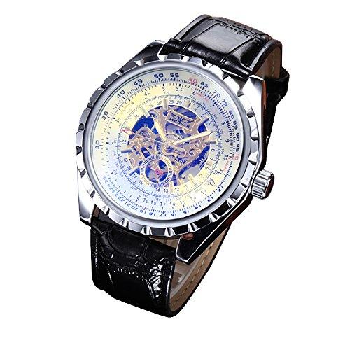 MapofBeauty Herren edelstahl Stahl Uhrenarmband Automatik Selbst Wind rund Mechanische Uhren Schwarz Uhrenarmband Silber Zifferbltter