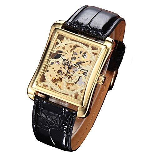 MapofBeauty Herren edelstahl Stahl Uhrenarmband Automatik Selbst Wind rund Mechanische Uhren Schwarz Uhrenarmband Gold Zifferbltter