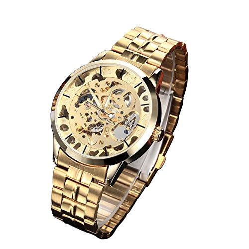 MapofBeauty Herren edelstahl Stahl Uhrenarmband Automatik Selbst Wind rund Mechanische Uhren Gold Uhrenarmband Gold Zifferbltter