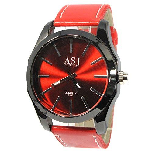 MapofBeauty Unisex edelstahl Stahl Uhrenarmband Analoges Quarzwerk rund Modisch und Stilvoll Uhren Schwarz Uhrenarmband rot Zifferbltter
