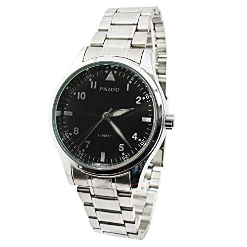 MapofBeauty Unisexs edelstahl Stahl Uhrenarmband Analoges Quarzwerk rund Modisch und Stilvoll Uhren Silber Uhrenarmband Schwarz Zifferbltter