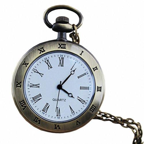 MapofBeauty Unisexs edelstahl Stahl Uhrenarmband Analoges Quarzwerk rund Tasche Uhren Coppery Uhrenarmband Wei Zifferbltter