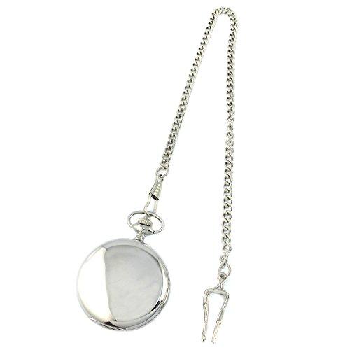 MapofBeauty Glatt Edelstahl Uhrengehaeuse Weiss Arabisch Zahlen Moderne Taschenuhr Silber
