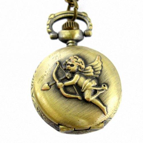 MapofBeauty Einzigartige Retro Design Bronze Cupid Muster Deckel voll Hunter Entwurfs Quarz Taschen Uhr