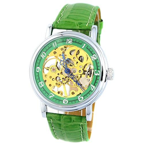 MapofBeauty Einfach und Exquisit Gold teilweise Ausgehoehlt Kunstleder Manuelle Mechanik Uhr Gruen