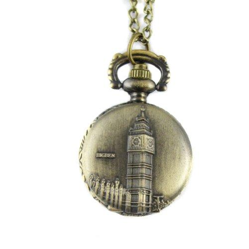 MapofBeauty Fashion Gepraegtes Big Ben Bronzelegierungs Quarz Taschenuhr