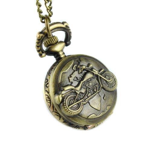 MapofBeauty Gepraegte Motorrad Bronzelegierungs Quarz Taschenuhr