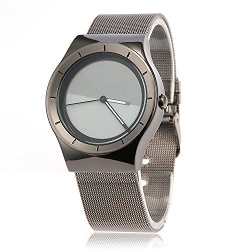 MapofBeauty Geschaeft Fashion Unisexs Analog Analoges Quarzwerk Uhren Gun Farbe Uhrenarmband Dunkel Grau Grau Zifferbltter