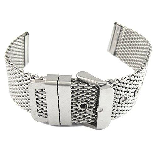 MapofBeauty Modisch und Stilvoll Geeignet fuer Damen und Herren Staerke Gitterband aus Edelstahl Armbanduhr Uhren Dornschliesse Silber 24 Millimeter