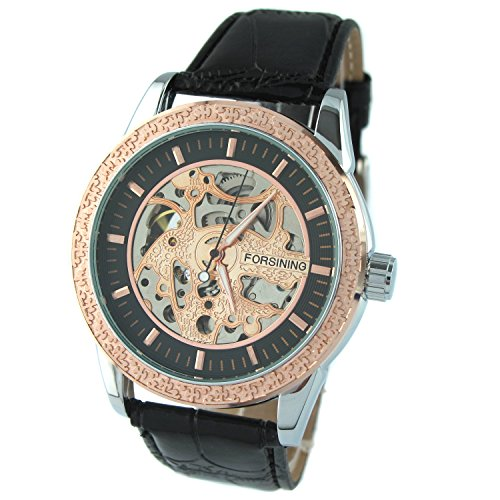 MapofBeauty Herren Ausgehoehlt Abschnitt grundrahmen Automatik Mechanische Uhr Schwarz Uhrenarm Uhrenarmbands Schwarz Zifferblatt Rosenrot gold Skalenumrandung
