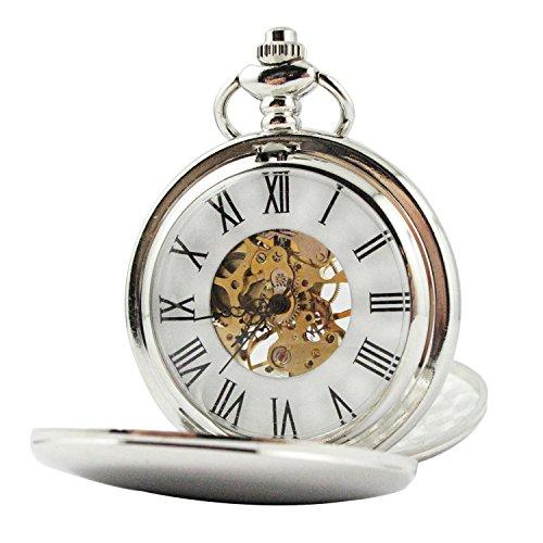 MapofBeauty Herren Metall Uhrenarmband Mechanische Hand Wind rund Tasche Uhren Silber Uhrenarmband Wei Zifferbltter