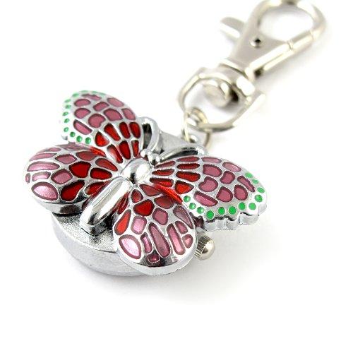 MapofBeauty Herrliche Schluesselanhaenger Ring mit Schmetterling Pendent Pocket Quarzuhr Pink
