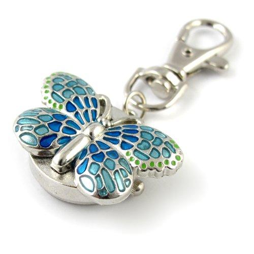 MapofBeauty Herrliche Schluesselanhaenger Ring mit Schmetterling Pendent Pocket Quarzuhr blau