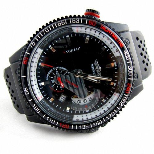 MapofBeauty Herren Kautschuk Uhrenarmband Automatik Selbst Wind rund Mechanische Uhren Schwarz Uhrenarmband Schwarz Zifferbltter
