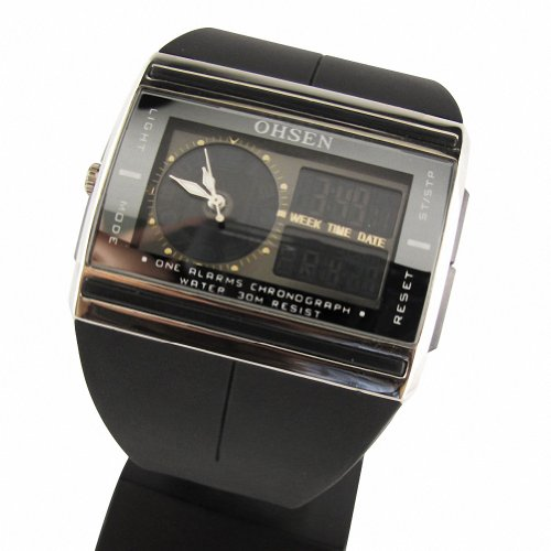 MapofBeauty Unisexs Kautschuk Uhrenarmband LED Rechteckig LED Uhren Schwarz Uhrenarmband Schwarz Zifferbltter