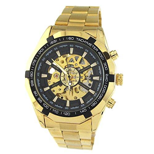 MapofBeauty Tachymeter Polygon Modellbildung Skalenumrandung Luxus Stahl Rahmen Edelstahl Automatik Mechanische Herren Gold Uhrenarmbands Gold UhrUhrenarmbands Schwarz Zifferblatt