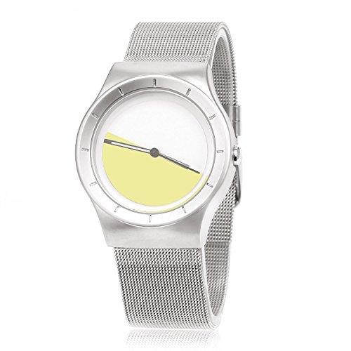 MapofBeauty Unisexs Quarzuhr Uhrenarmbanduhr Fashion Geschaeft Stil Silber Uhrenarmband Wei Gelb Zifferbltter