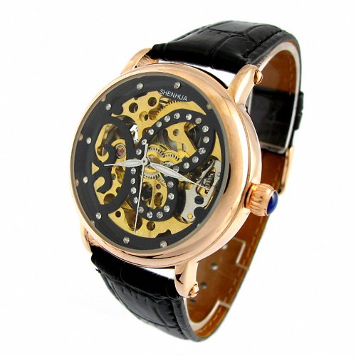 MapofBeauty Schmetterling ausgehoehltem Muster mit Strass Kunstlederband automatische Mechanik Gold Skalenumrandung Schwarz Uhrenarmband