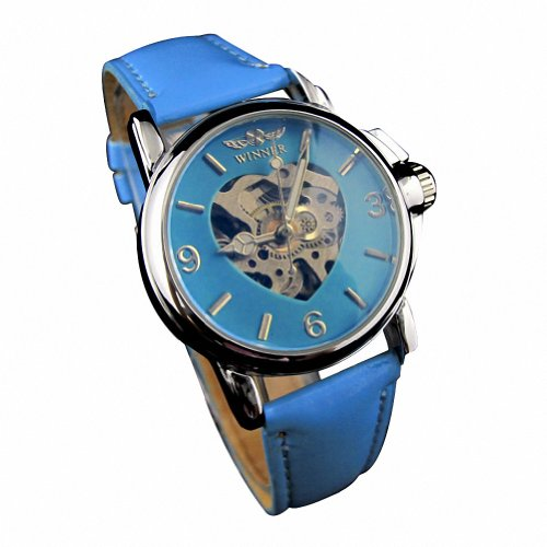 MapofBeauty Damen Synthetische Leder Uhrenarmband Automatik Selbst Wind rund Mechanische Uhren blau Uhrenarmband blau Zifferbltter